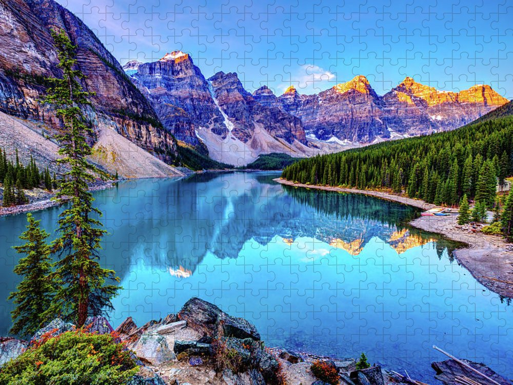 Tranquility Puzzle featuring the photograph Sunrise At Moraine Lake by Wan Ru Chen