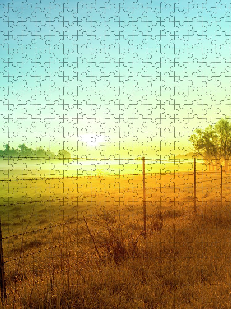 Tranquility Puzzle featuring the photograph Sunrise Fence Line Central Indiana by Michael Huddleston / Artsyfartsytbarn