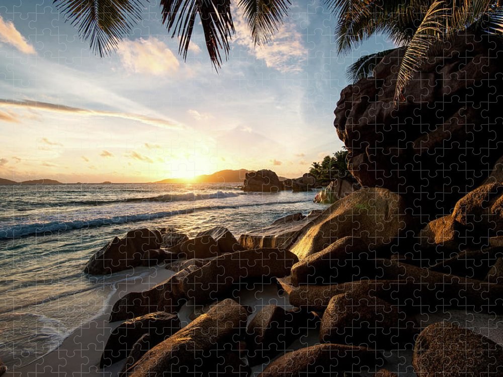Water's Edge Puzzle featuring the photograph Sunrise Framed By Palm Trees And Rock by Pitgreenwood