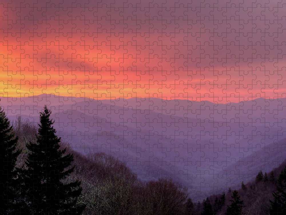 Dawn Puzzle featuring the photograph Sunrise In The Smoky Mountains by Dennis Govoni
