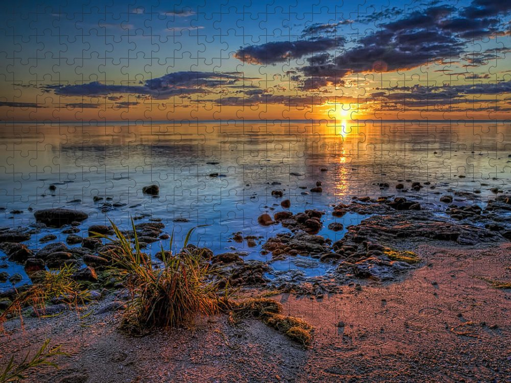 Sun Puzzle featuring the photograph Sunrise over Lake Michigan by Scott Norris