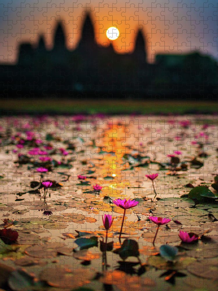 Tranquility Puzzle featuring the photograph Sunrise Over The Lotus Flowers Of by © Francois Marclay