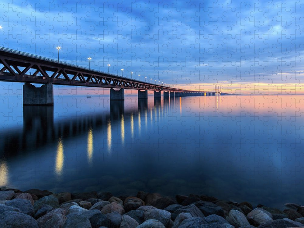 Tranquility Puzzle featuring the photograph Sunset At The Øresund Bridge, Malmö by Maria Swärd