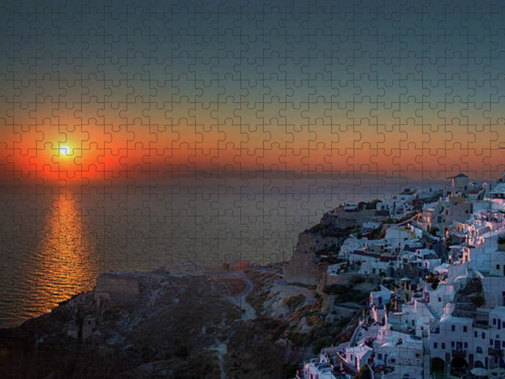 Tranquility Puzzle featuring the photograph Sunset In Santorini, Greece by Ed Freeman