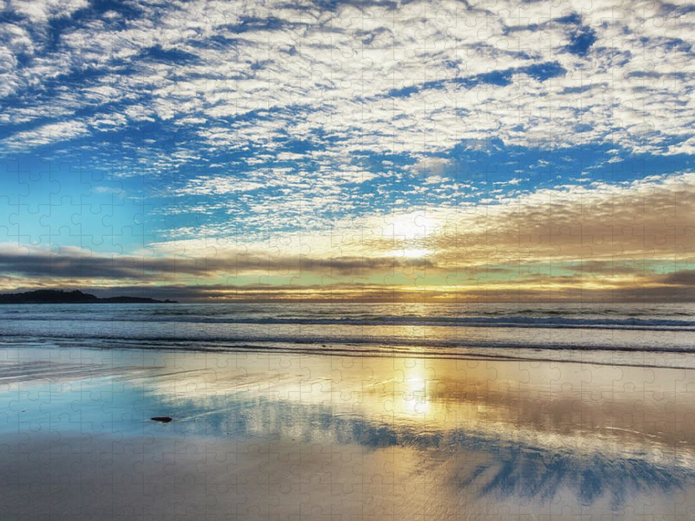 Tranquility Puzzle featuring the photograph Sunset On Carmel Beach, California by Alvis Upitis