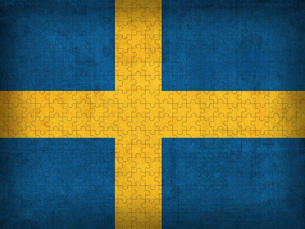Sweden Flag Vintage Distressed Finish Puzzle featuring the mixed media Sweden Flag Vintage Distressed Finish by Design Turnpike