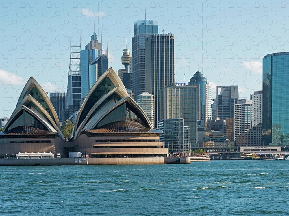 Built Structure Puzzle featuring the photograph Sydney Opera House And Waterfront by Marco Simoni