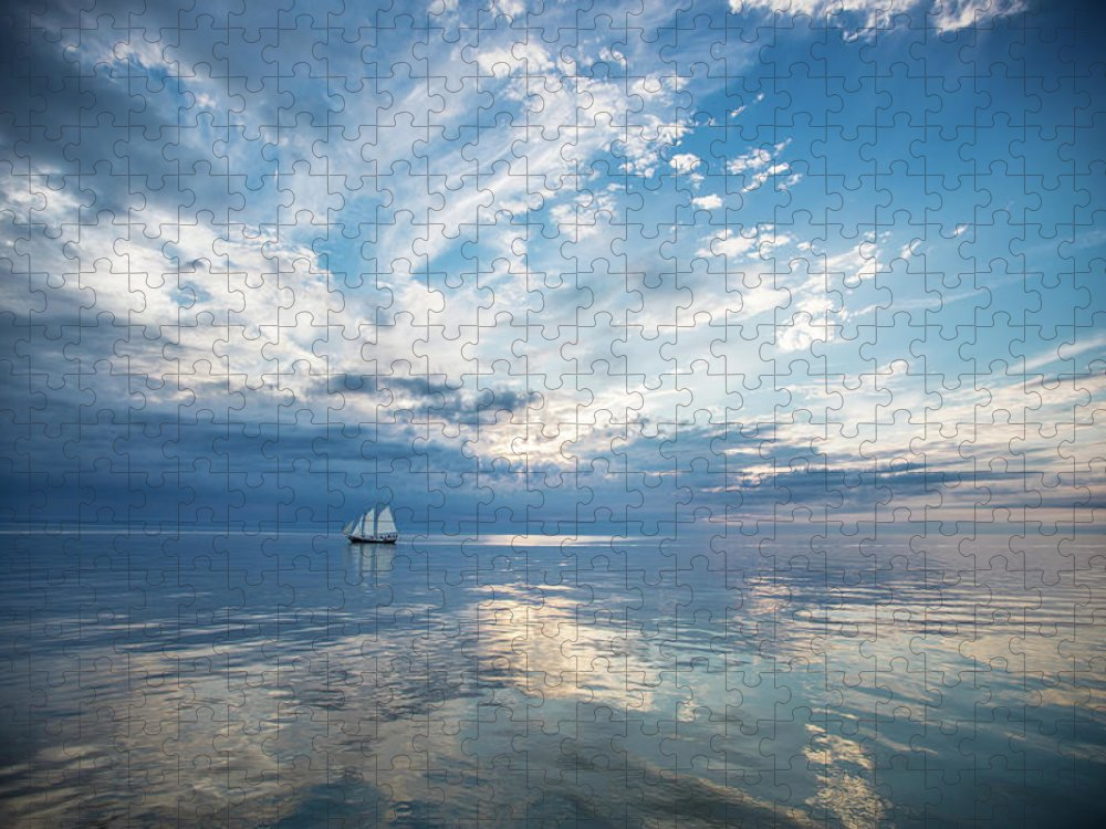 Tranquility Puzzle featuring the photograph Tall Ship On The Big Lake by Rudy Malmquist