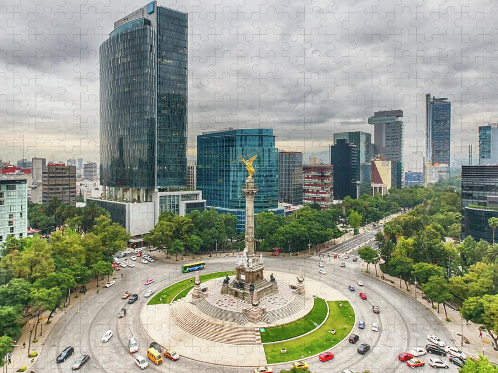 Mexico City Puzzle featuring the photograph The Angel Of Independence, Mexico City by Sergio Mendoza Hochmann