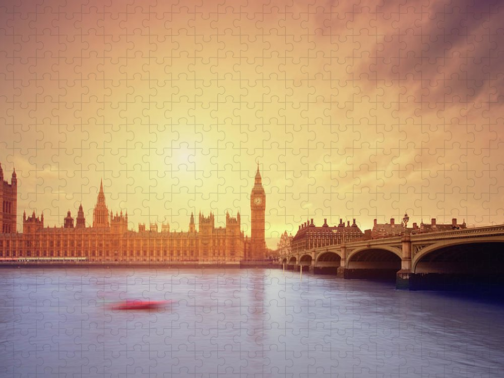 Clock Tower Puzzle featuring the photograph The Big Ben And Parliament In London by Mammuth
