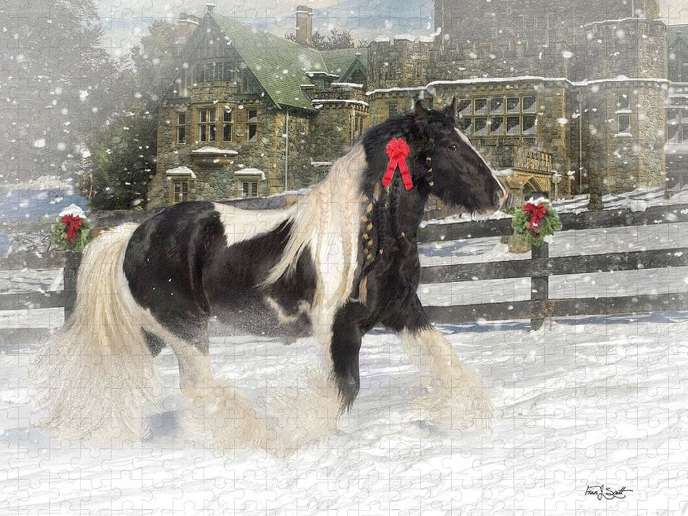 Christmas Puzzle featuring the mixed media The Christmas Pony by Fran J Scott