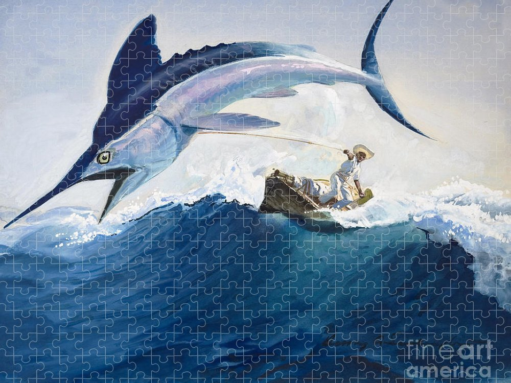 The Puzzle featuring the painting The Old Man and the Sea by Harry G Seabright