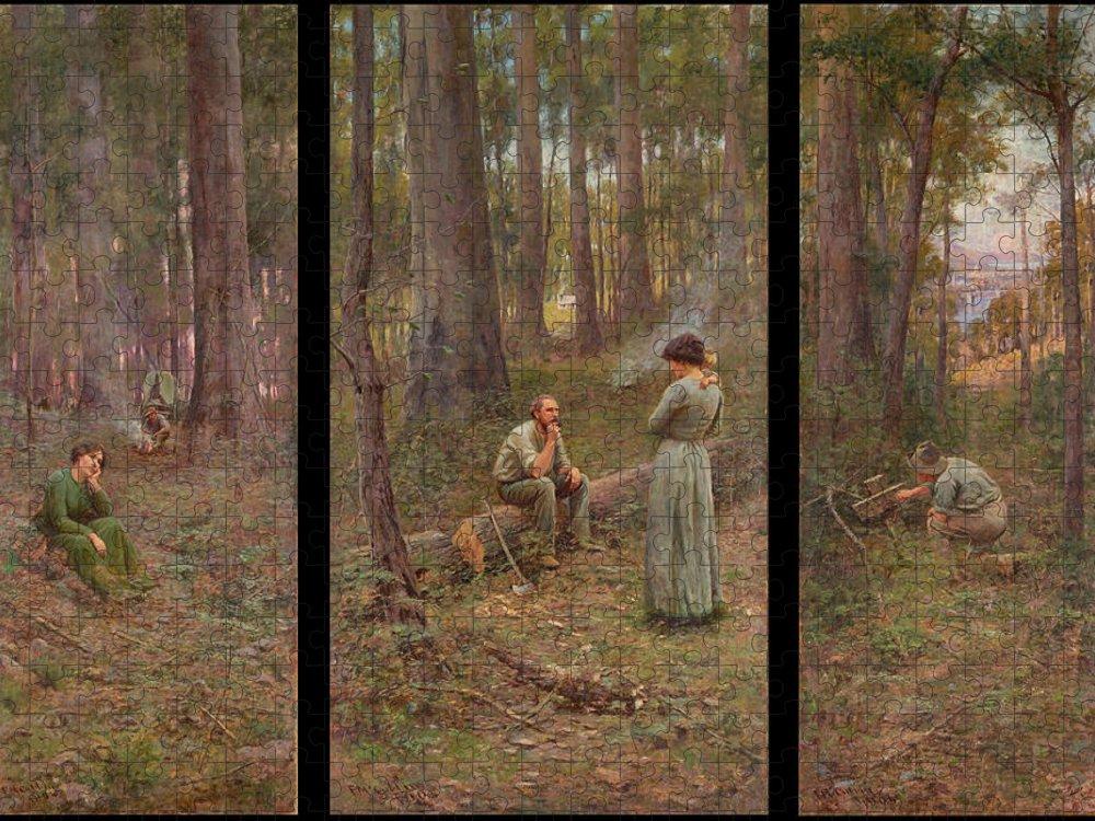 Frederick Mccubbin Puzzle featuring the painting The pioneer by Frederick McCubbin