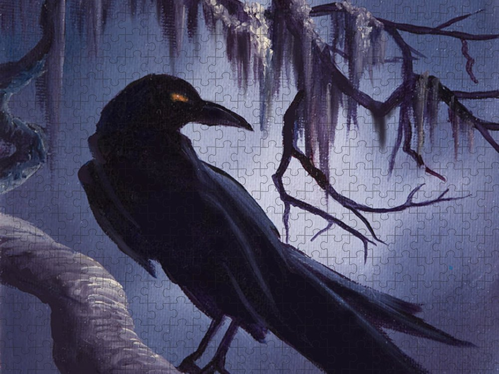 James C. Hill Puzzle featuring the painting The Raven by James Christopher Hill