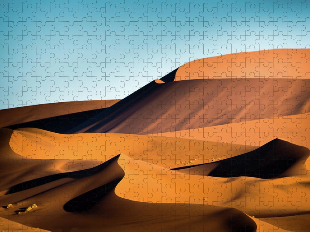 Sand Dune Puzzle featuring the photograph The Red Sand Dunes In Namibia by José Gieskes Fotografie