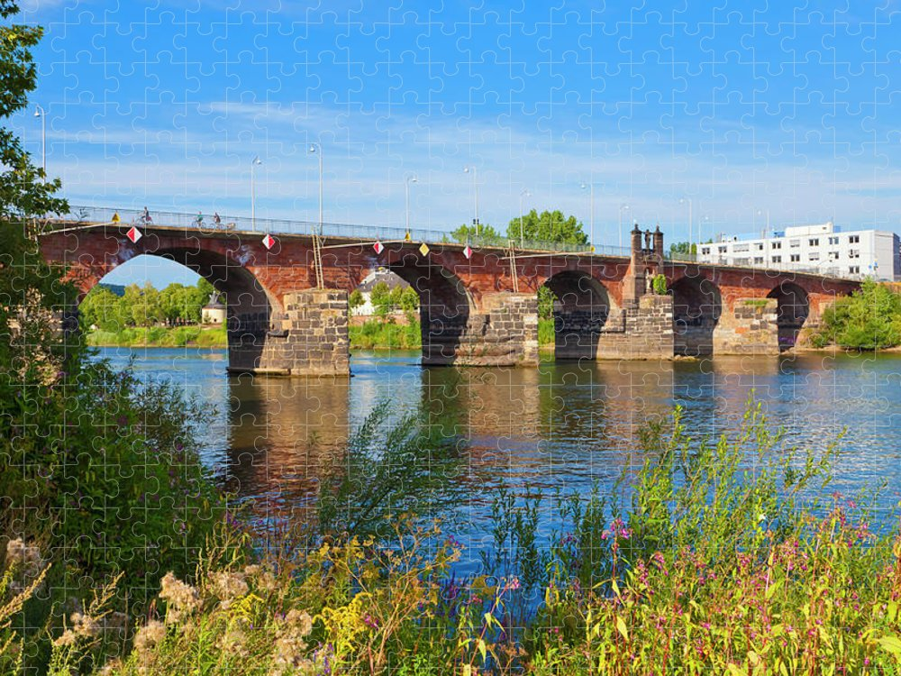 Roman Puzzle featuring the photograph The Roman Bridge Over Mosel River In by Werner Dieterich