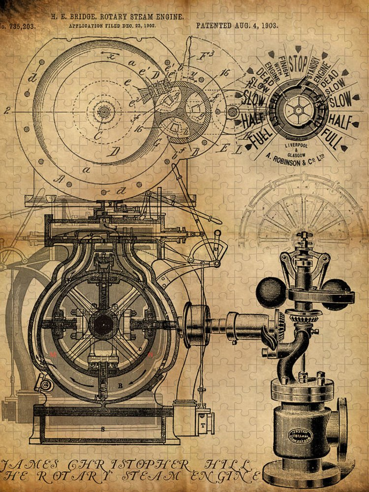 Steampunk Puzzle featuring the painting The Rotary Engine by James Christopher Hill