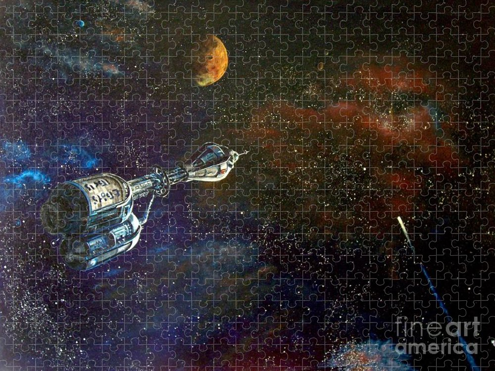 Vista Horizon Puzzle featuring the painting The Search for Earth by Murphy Elliott