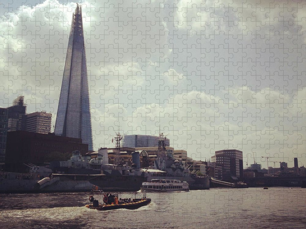 England Puzzle featuring the photograph The Shard And Thames by Denise Taylor