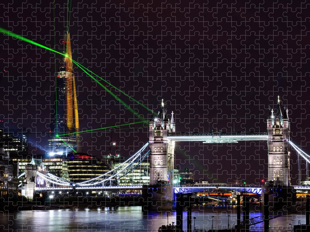 Gothic Style Puzzle featuring the photograph The Shard Skyscraper Opening Laser by Dynasoar