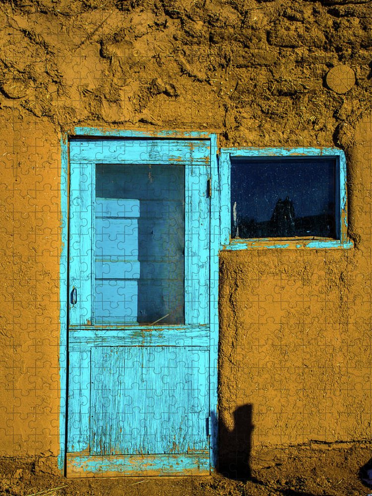 Cool Attitude Puzzle featuring the photograph The Turquoise New Mexican Rustic Door by Roschetzkyistockphoto