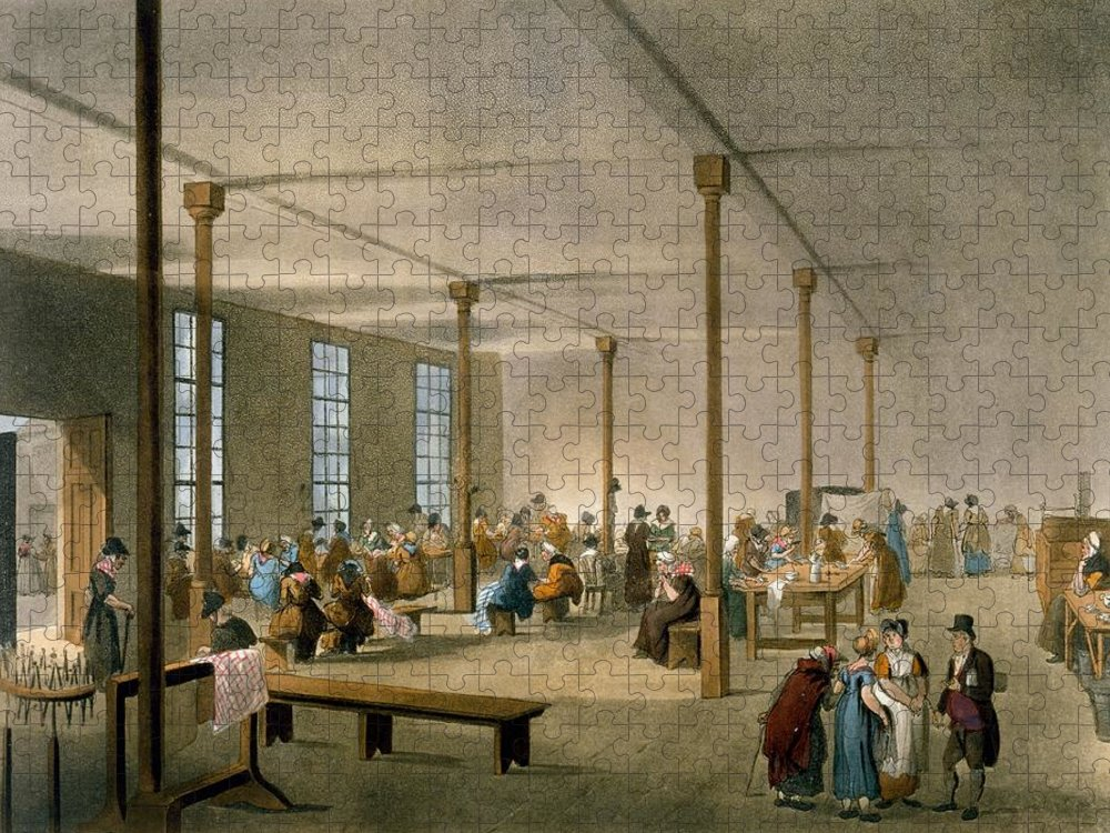 Workhouse Puzzle featuring the drawing The Workhouse, St James, Parish, London by T. & Pugin, A.C. Rowlandson