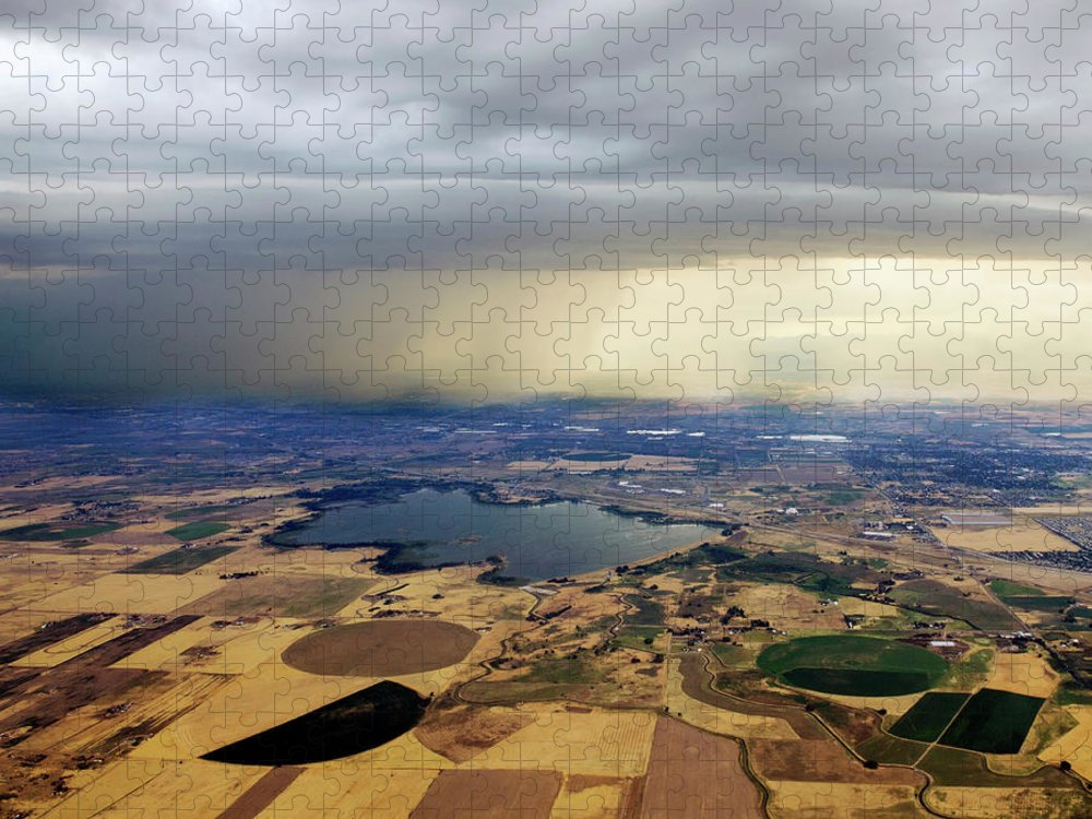 Tranquility Puzzle featuring the photograph Thunderstorm Over Denver, Colerado by Gail Shotlander