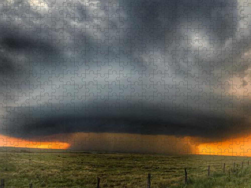 Problems Puzzle featuring the photograph Thunderstorm Over Grassy Field by Brian Harrison / Eyeem