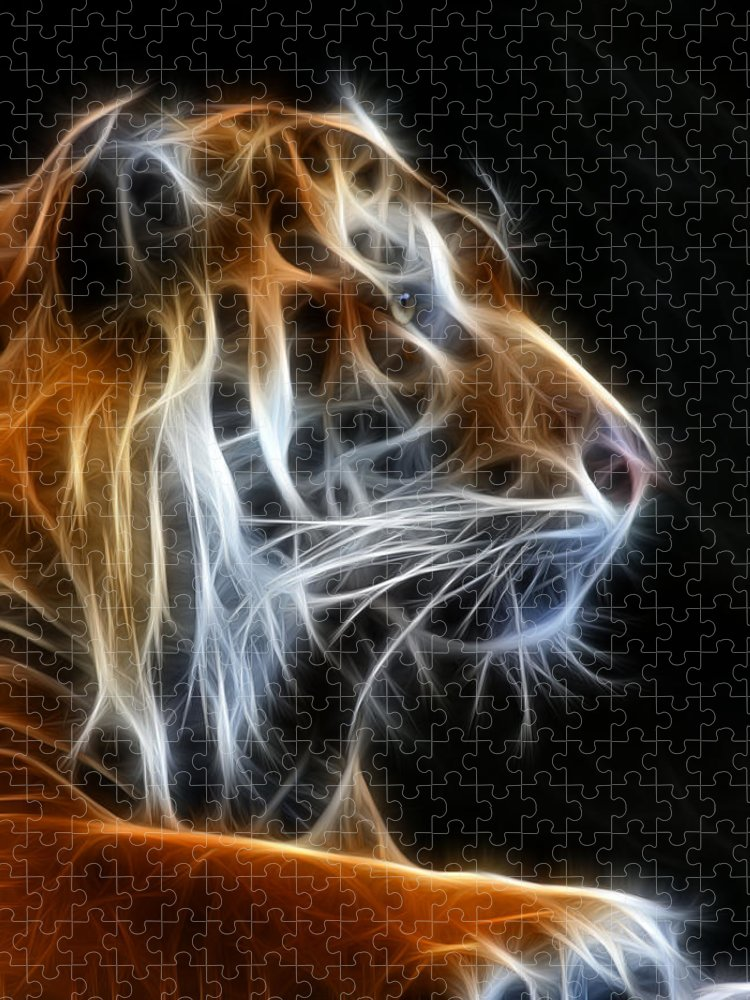 Tiger Puzzle featuring the photograph Tiger Fractal 2 by Shane Bechler