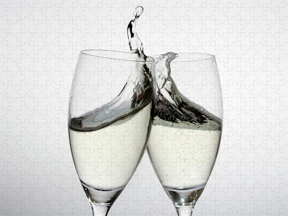 Alcohol Puzzle featuring the photograph Toasting With Two Glasses Of Champagne by Dual Dual