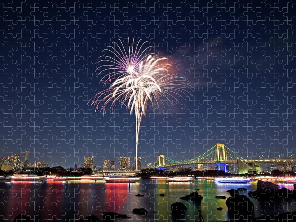 Firework Display Puzzle featuring the photograph Tokyo Bay Fireworks by Photography By Zhangxun