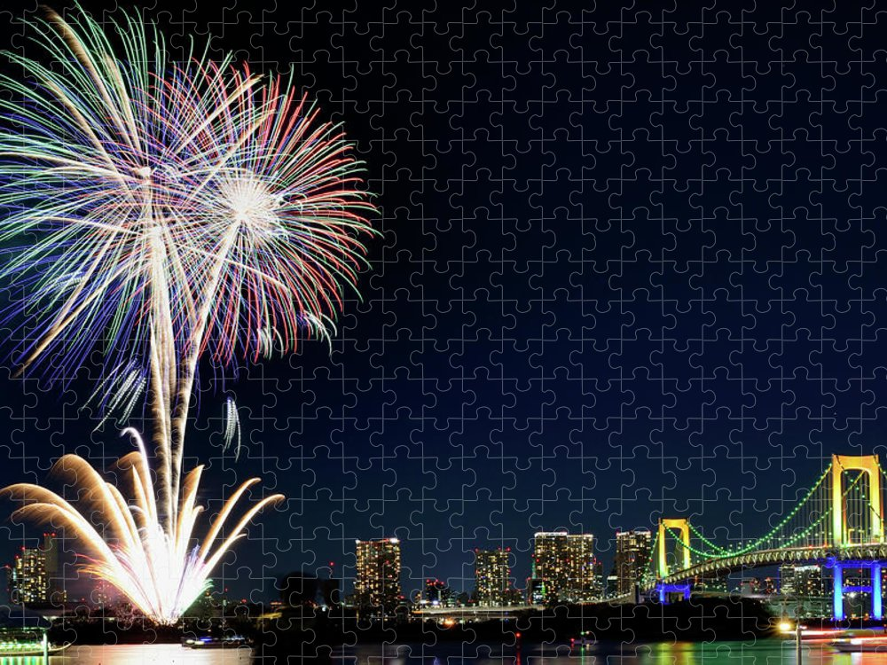 Firework Display Puzzle featuring the photograph Tokyo Fireworks by Vladimir Zakharov