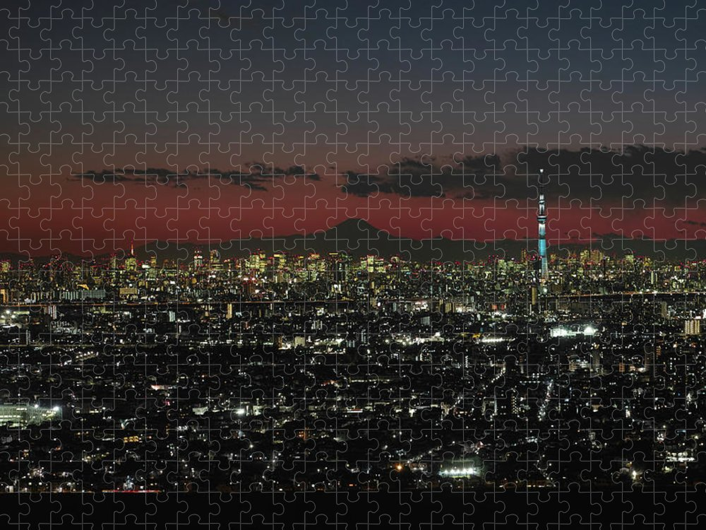 Tokyo Tower Puzzle featuring the photograph Tokyo Skytree, Fuji, And Tokyo Tower by I Love Photo And Apple.