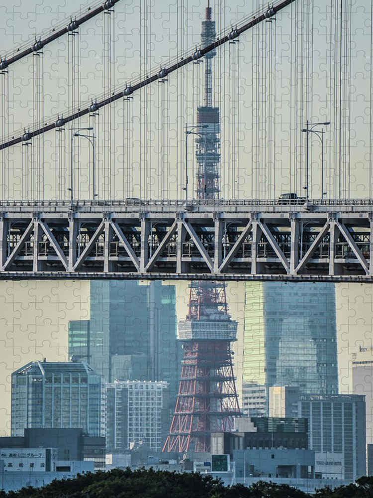 Tokyo Tower Puzzle featuring the photograph Tokyo Tower And Rainbow Bridge by Image Courtesy Trevor Dobson