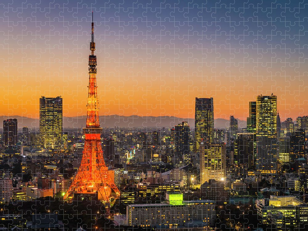 Tokyo Tower Puzzle featuring the photograph Tokyo Tower Skyscrapers Neon Futuristic by Fotovoyager