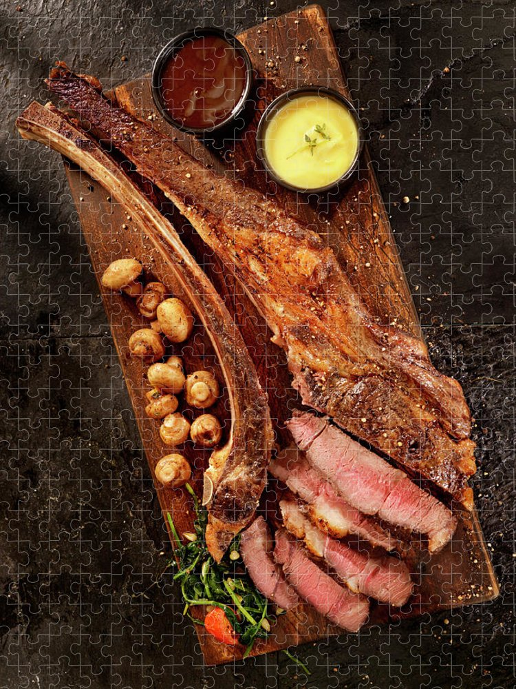 Edible Mushroom Puzzle featuring the photograph Tomahawk, The Ultimate Steak by Lauripatterson