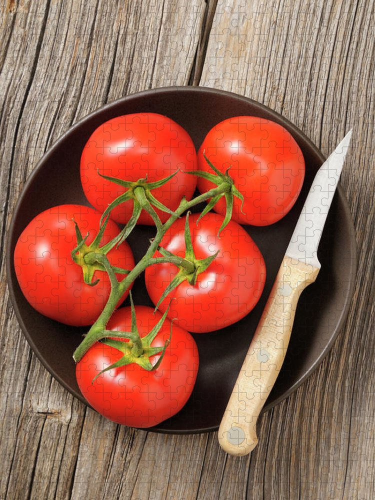 Kitchen Knife Puzzle featuring the photograph Tomato by Riou