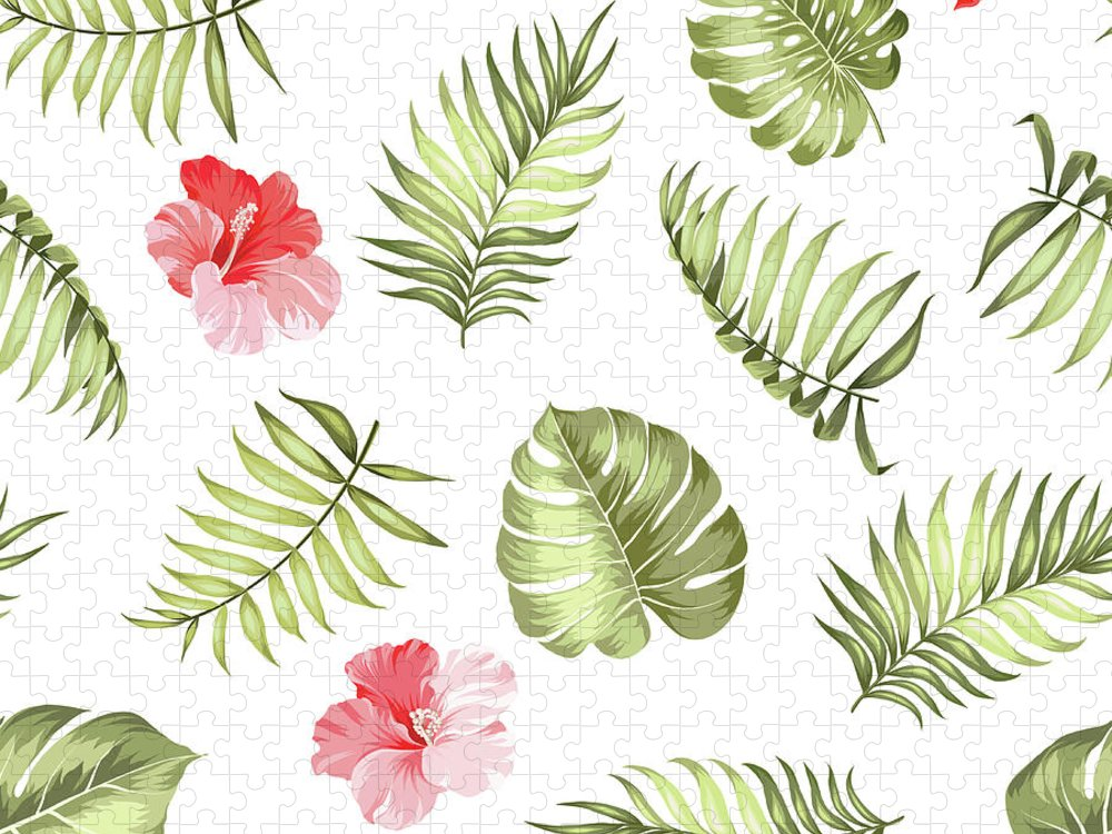 Tropical Rainforest Puzzle featuring the digital art Topical Palm Leaves Pattern by Kotkoa