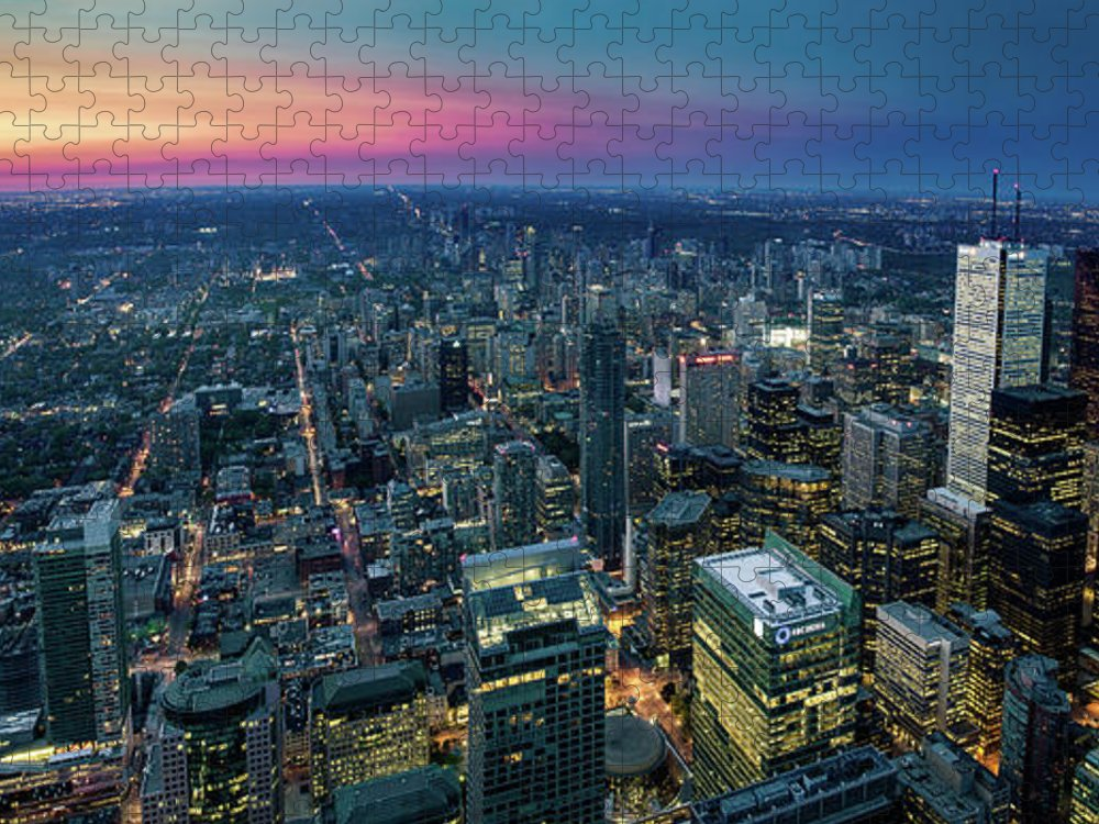 Downtown District Puzzle featuring the photograph Toronto Downtown City At Night by D3sign
