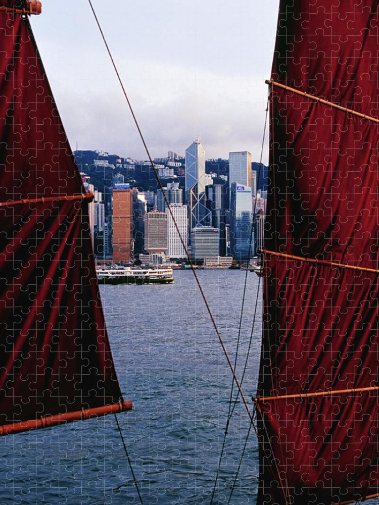 Chinese Culture Puzzle featuring the photograph Tourist Boat Junk Sails Framing by Richard I'anson