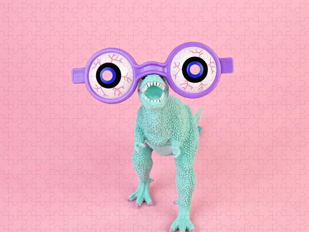 Purple Puzzle featuring the photograph Toy Dinosaur With Spooky Glasses by Juj Winn