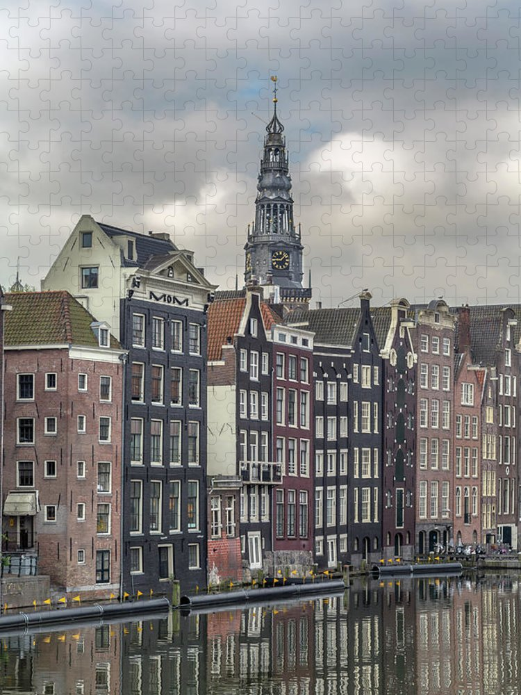 In A Row Puzzle featuring the photograph Traditional Dutch Houses Over A Canal by Buena Vista Images