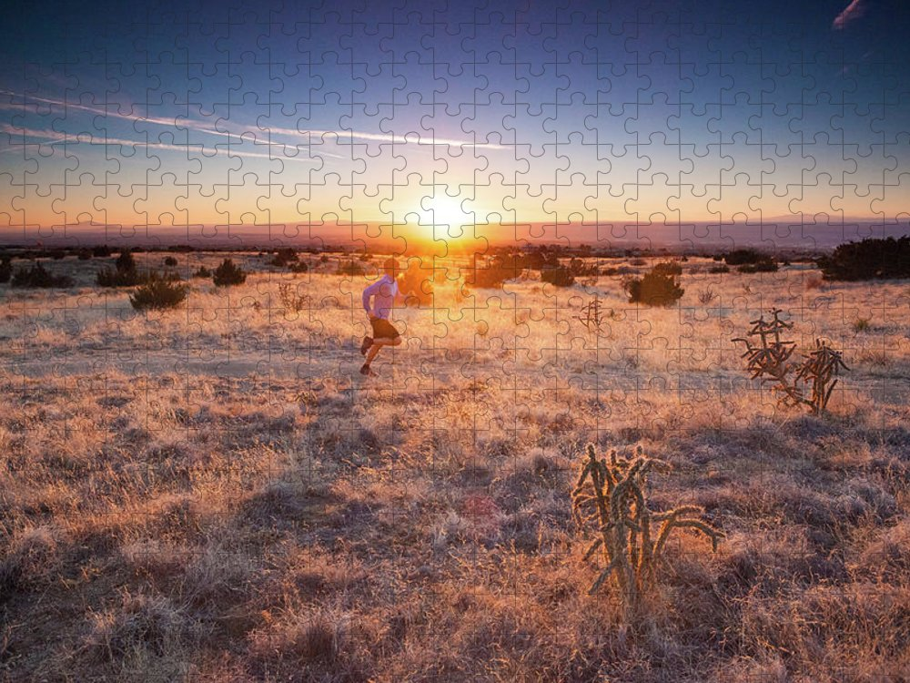 Scenics Puzzle featuring the photograph Trail Running by Amygdala imagery