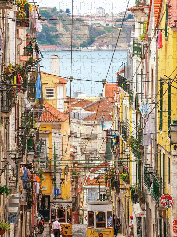 People Puzzle featuring the photograph Tram, Barrio Alto, Lisbon, Portugal by Peter Adams