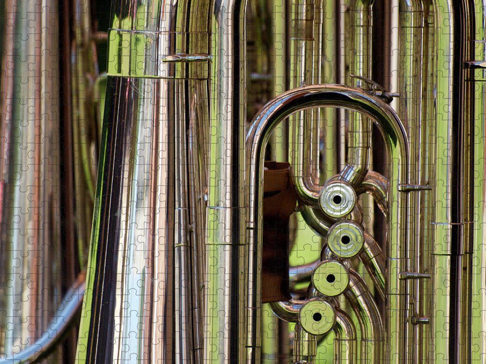 Music Puzzle featuring the photograph Trombone by Luigi Masella