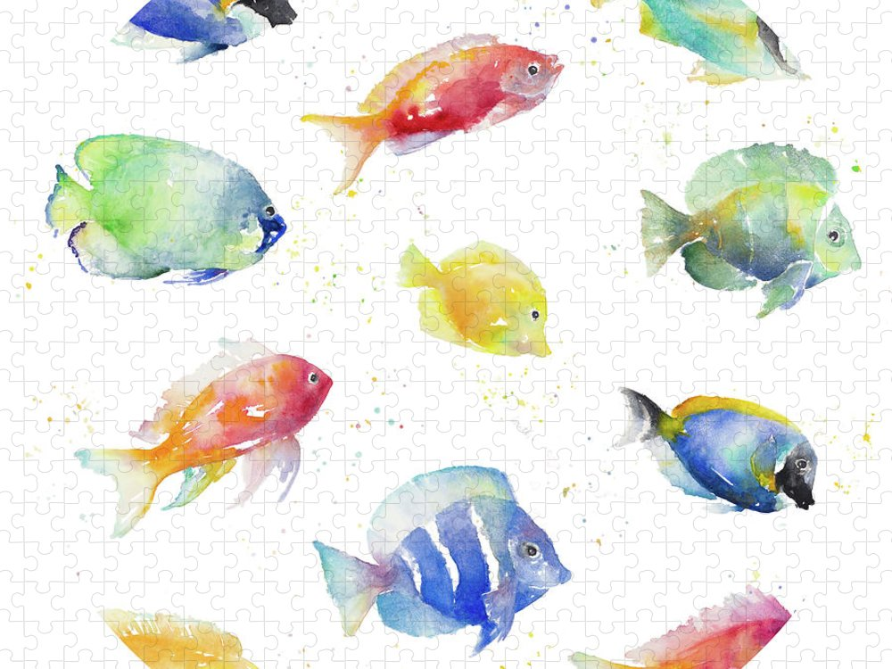 Tropical Puzzle featuring the painting Tropical Fish Round by Lanie Loreth