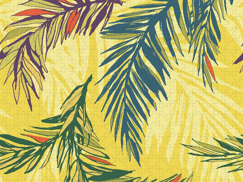 Tropical Rainforest Puzzle featuring the digital art Tropical Jungle Floral Seamless Pattern by Sv sunny