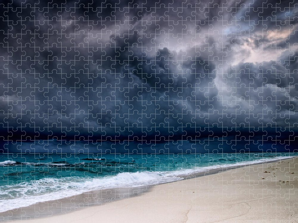 Water's Edge Puzzle featuring the photograph Tropical Storm Over The Caribbean Sea by Stevegeer