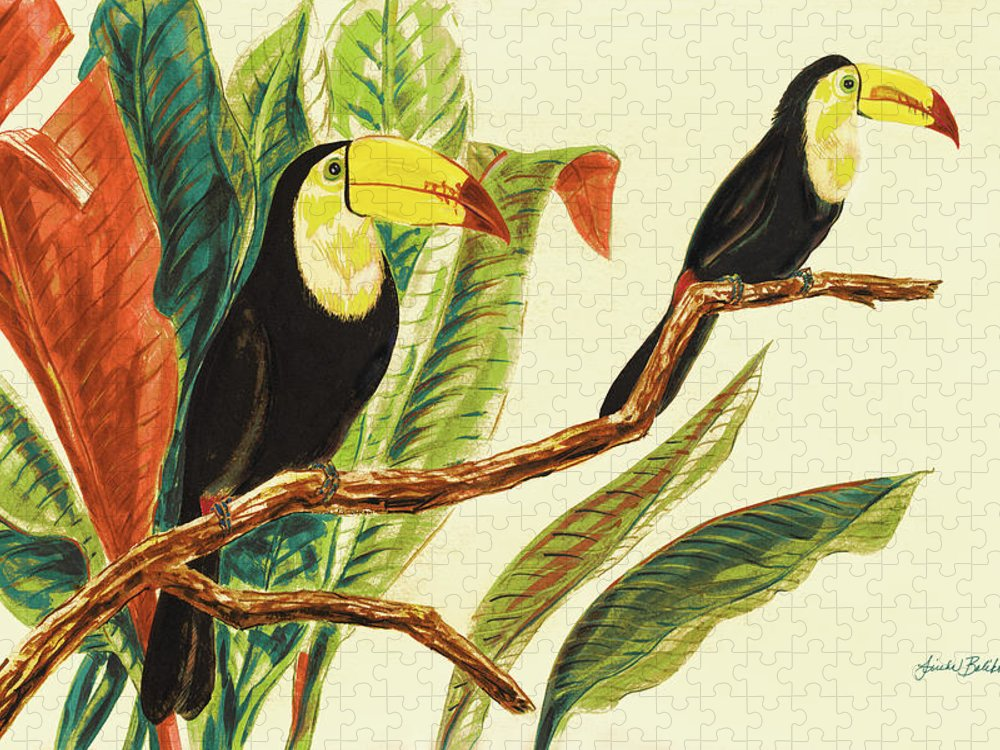 Toucans Puzzle featuring the painting Tropical Toucans II by Linda Baliko