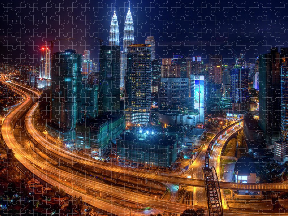 Outdoors Puzzle featuring the photograph Two Direction In Klcc by Rithauddin Photographer